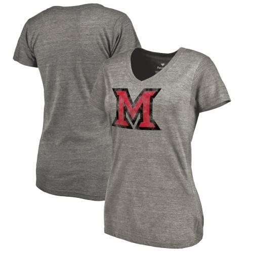 FANATICS BRANDED マイアミ レディース クラシック ロゴ ブイネック Tシャツ 灰色 グレー グレイ レディースファッション トップス カットソー 【 Miami University Redhawks Womens Classic Primary Logo Tri-