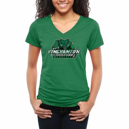 FANATICS BRANDED レディース クラシック ブイネック Tシャツ 緑 グリーン レディースファッション トップス カットソー 【 Binghamton Bearcats Womens Classic Primary Tri-blend V-neck T-shirt - Kelly Green 】 Kel