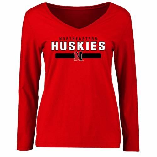 FANATICS BRANDED レディース チーム スリーブ Tシャツ 赤 レッド レディースファッション トップス カットソー 【 Northeastern Huskies Womens Team Strong Long Sleeve T-shirt - Red 】 Red