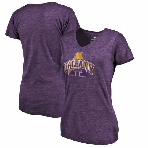 FANATICS BRANDED レディース クラシック ブイネック Tシャツ 紫 パープル レディースファッション トップス カットソー 【 Albany Great Danes Womens Classic Primary Tri-blend V-neck T-shirt - Purple 】 Purple