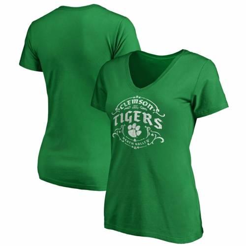 FANATICS BRANDED タイガース レディース ブイネック Tシャツ 緑 グリーン St. レディースファッション トップス カットソー 【 Clemson Tigers Womens St. Patricks Day Tullamore V-neck T-shirt - Green 】 Green