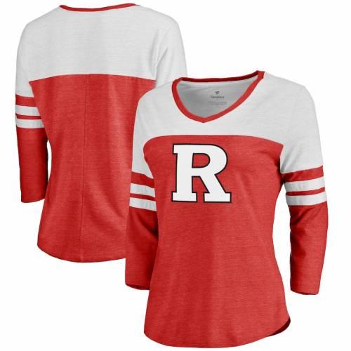 FANATICS BRANDED レディース ロゴ スリーブ Tシャツ レディースファッション トップス カットソー 【 Rutgers Scarlet Knights Womens Primary Logo Color Block 3/4 Sleeve Tri-blend T-shirt - Scarlet 】 Scarlet