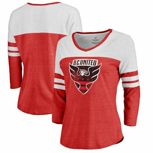 FANATICS BRANDED レディース ロゴ ラグラン スリーブ Tシャツ 赤 レッド D.c. レディースファッション トップス カットソー 【 D.c. United Womens Distressed Primary Logo Raglan Tri-blend 3/4 Sleeve T-shirt - Red
