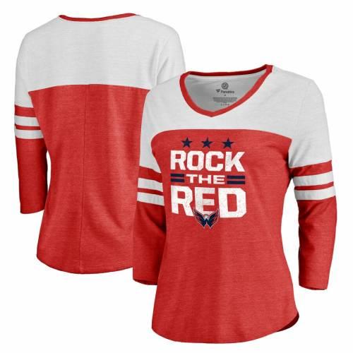 FANATICS BRANDED ワシントン レディース コレクション 赤 レッド スリーブ Tシャツ レディースファッション トップス カットソー 【 Washington Capitals Womens Hometown Collection Rock The Red Three-quarter S