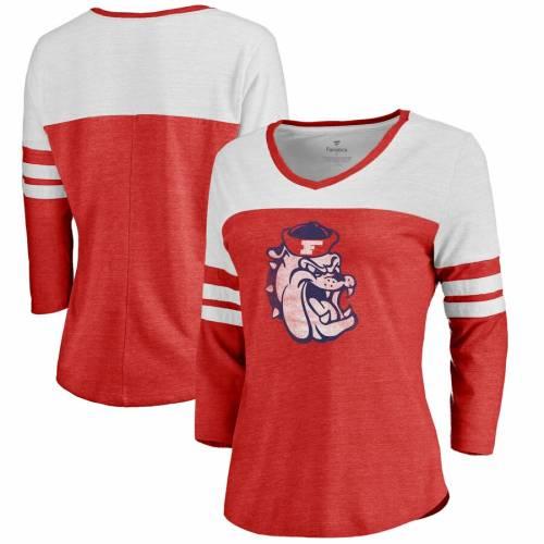 FANATICS BRANDED スケートボード レディース カレッジ ロゴ スリーブ Tシャツ 赤 レッド レディースファッション トップス カットソー 【 Fresno State Bulldogs Womens College Vault Primary Logo Color Block