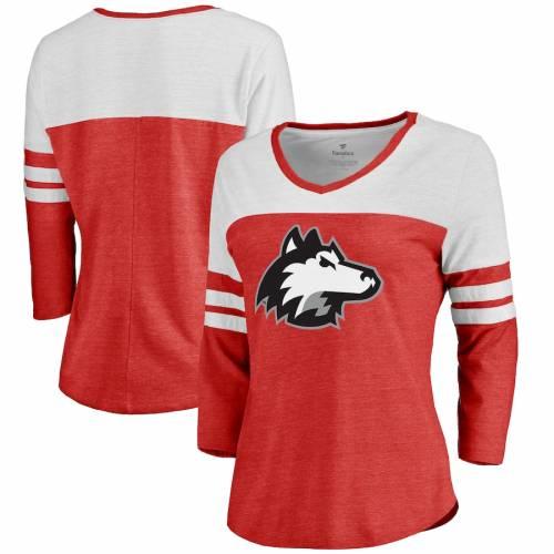 FANATICS BRANDED イリノイ レディース ロゴ スリーブ Tシャツ 赤 レッド レディースファッション トップス カットソー 【 Northern Illinois Huskies Womens Primary Logo Color Block 3/4 Sleeve Tri-blend T-shirt - R