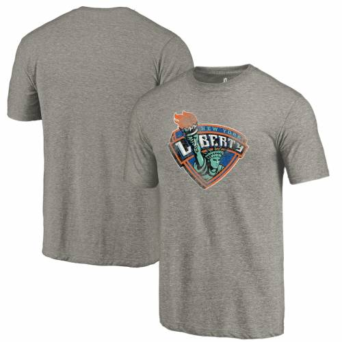 FANATICS BRANDED チーム Tシャツ 灰色 グレー グレイ メンズファッション トップス カットソー メンズ 【 New York Liberty Distressed Team Tri-blend T-shirt - Gray 】 Gray