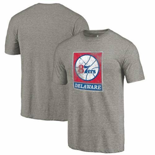 FANATICS BRANDED Tシャツ 灰色 グレー グレイ メンズファッション トップス カットソー メンズ 【 Delaware 87ers Distressed Primary Tri-blend T-shirt - Gray 】 Gray