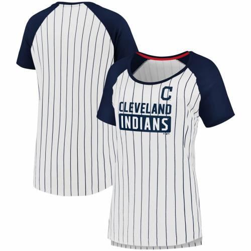 FANATICS BRANDED クリーブランド インディアンズ レディース Tシャツ 白 ホワイト レディースファッション トップス カットソー 【 Cleveland Indians Womens Iconic Pinstripe T-shirt - White 】 White