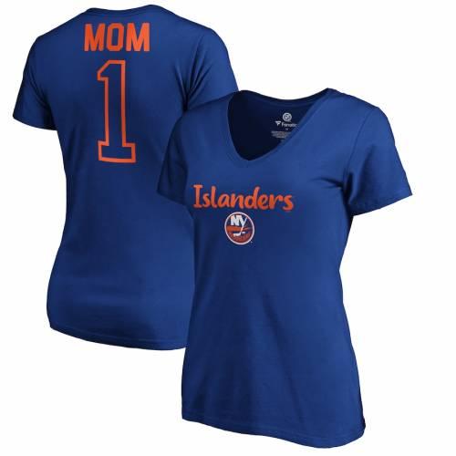 FANATICS BRANDED レディース ブイネック Tシャツ WOMEN'S #1 【 FANATICS BRANDED NEW YORK ISLANDERS MOM VNECK TSHIRT ROYAL 】 レディースファッション トップス Tシャツ カットソー