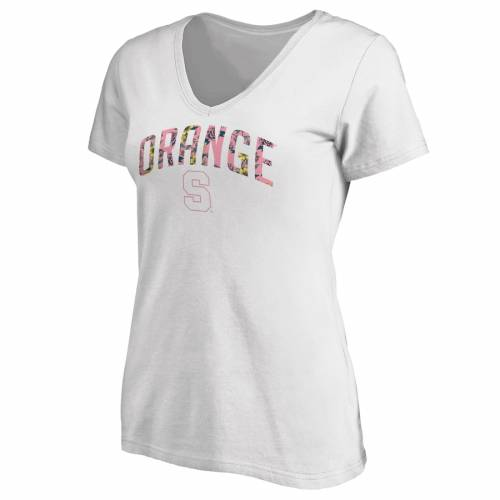 FANATICS BRANDED シラキュース 橙 オレンジ レディース ブイネック Tシャツ 白 ホワイト WOMEN'SH2EID9
