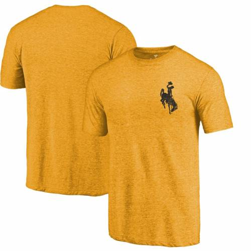 FANATICS BRANDED カウボーイズ ロゴ Tシャツ メンズファッション トップス カットソー メンズ 【 Wyoming Cowboys Left Chest Distressed Logo Tri-blend T-shirt - Gold Heathered 】 Gold Heathered