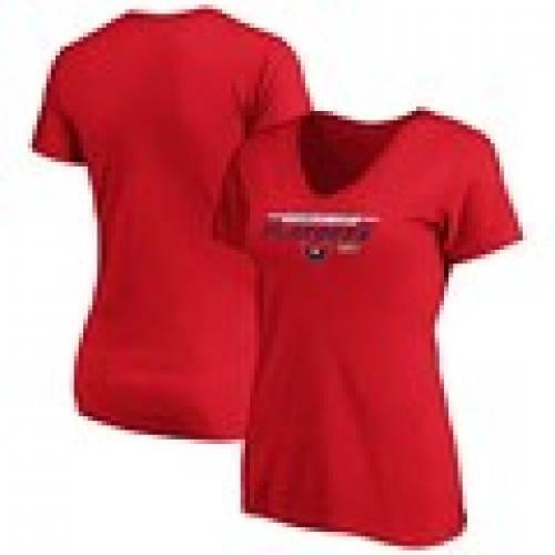 早割クーポン! ファナティクス FANATICS BRANDED ワシントン キャピタルズ レディース Vネック Tシャツ 赤 レッド WOMEN&39;S 【 RED FANATICS BRANDED 2020 STANLEY CUP PLAYOFFS BOUND TOP CHEDDAR VNECK TSHIRT 】 レディースファッシ, ゴルフセオリー f7f813ae