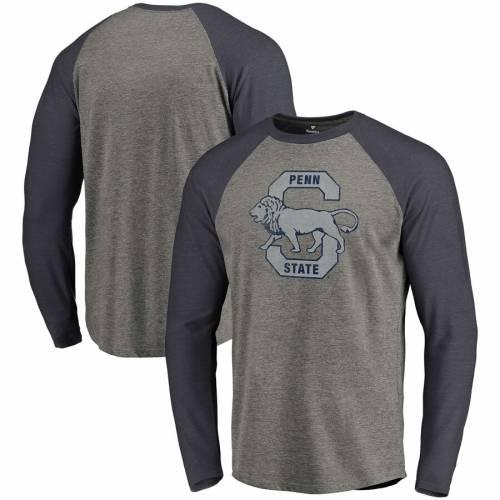 FANATICS BRANDED スケートボード ライオンズ ロゴ ラグラン スリーブ Tシャツ メンズファッション トップス カットソー メンズ 【 Penn State Nittany Lions Vault School Logo Tri-blend Raglan Long Sleeve T-shir
