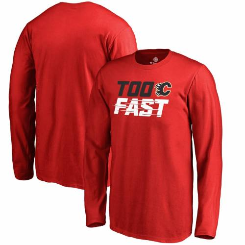 FANATICS BRANDED 子供用 ファスト スリーブ Tシャツ 赤 レッド キッズ ベビー マタニティ トップス ジュニア 【 Calgary Flames Youth Too Fast Long Sleeve T-shirt - Red 】 Red