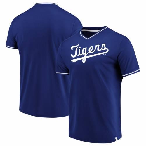 FANATICS BRANDED デトロイト タイガース ブイネック Tシャツ メンズファッション トップス カットソー メンズ 【 Detroit Tigers True Classics V-neck T-shirt - Royal/white 】 Royal/white