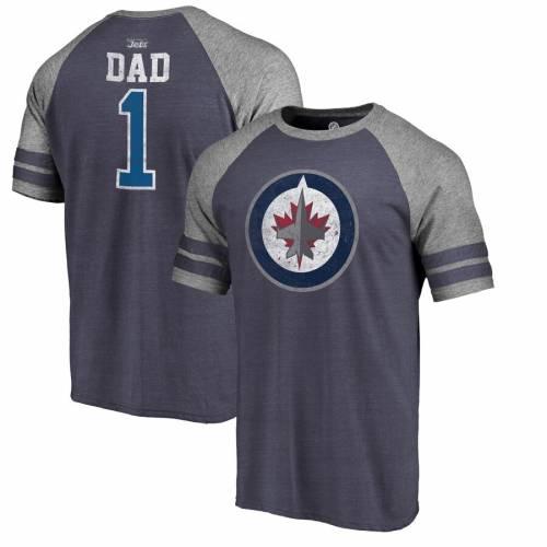 FANATICS BRANDED ジェッツ ラグラン Tシャツ 紺 ネイビー メンズファッション トップス カットソー メンズ 【 Winnipeg Jets Fathers Day Greatest Dad Raglan Tri-blend T-shirt - Navy 】 Navy