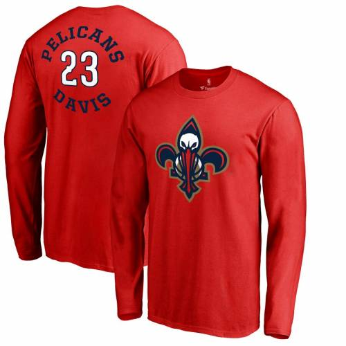 FANATICS BRANDED アンソニー スリーブ Tシャツ 赤 レッド メンズファッション トップス カットソー メンズ 【 Anthony Davis New Orleans Pelicans Round About Name And Number Long Sleeve T-shirt - Red 】 Red