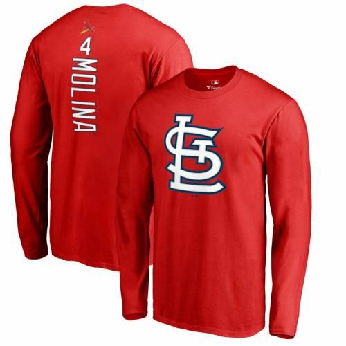 FANATICS BRANDED カーディナルス スリーブ Tシャツ 赤 レッド St. メンズファッション トップス カットソー メンズ 【 Yadier Molina St. Louis Cardinals Backer Long Sleeve T-shirt - Red 】 Red