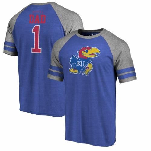 FANATICS BRANDED カンザス ラグラン Tシャツ メンズファッション トップス カットソー メンズ 【 Kansas Jayhawks Greatest Dad Raglan Tri-blend T-shirt - Royal 】 Royal