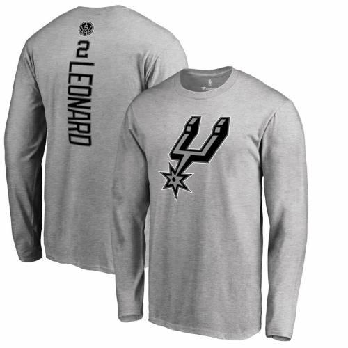 FANATICS BRANDED スパーズ スリーブ Tシャツ 灰色 グレー グレイ メンズファッション トップス カットソー メンズ 【 Kawhi Leonard San Antonio Spurs Backer Big And Tall Long Sleeve T-shirt - Gray 】 Gray
