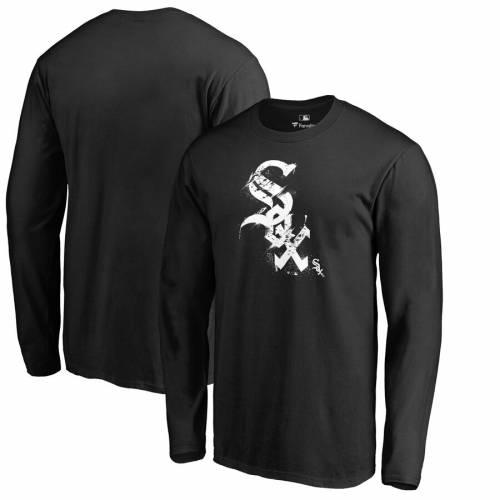 FANATICS BRANDED シカゴ 白 ホワイト ロゴ スリーブ Tシャツ 黒 ブラック メンズファッション トップス カットソー メンズ 【 Chicago White Sox Splatter Logo Long Sleeve T-shirt - Black 】 Black