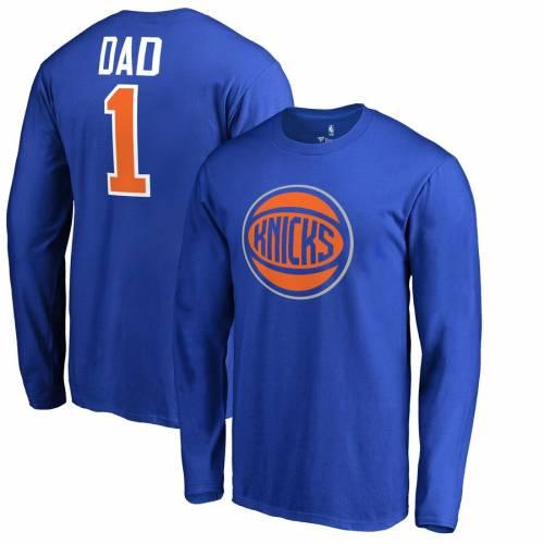 FANATICS BRANDED ニックス スリーブ Tシャツ #1 メンズファッション トップス カットソー メンズ 【 New York Knicks Big And Tall #1 Dad Long Sleeve T-shirt - Royal 】 Royal