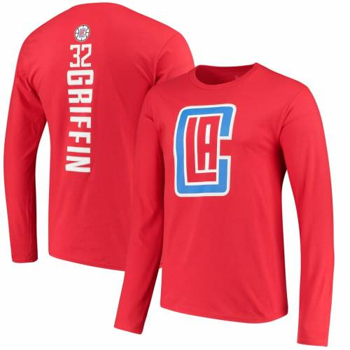 FANATICS BRANDED ブレイク グリフィン クリッパーズ スリーブ Tシャツ 赤 レッド & 【 GRIFFIN SLEEVE RED FANATICS BRANDED BLAKE LA CLIPPERS BACKER NAME NUMBER PLAYER LONG TSHIRT 】 メンズファッション トップ