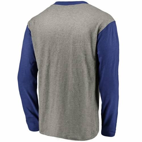 FANATICS BRANDED ストライプ スリーブ ヘンリー Tシャツ メンズファッション トップス カットソー メンズ 【 Tampa Bay Lightning True Classics Retro Stripe Long Sleeve Henley T-shirt - Heathered Gray/blue 】 Heather