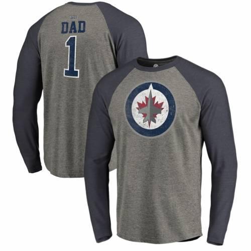 FANATICS BRANDED ジェッツ ラグラン スリーブ Tシャツ 灰色 グレー グレイ メンズファッション トップス カットソー メンズ 【 Winnipeg Jets Big And Tall Fathers Day Greatest Dad Raglan Tri-blend Long Sleeve T-