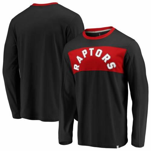 FANATICS BRANDED トロント ラプターズ スリーブ Tシャツ メンズファッション トップス カットソー メンズ 【 Toronto Raptors Iconic Color Block Long Sleeve T-shirt - Black/red 】 Black/red
