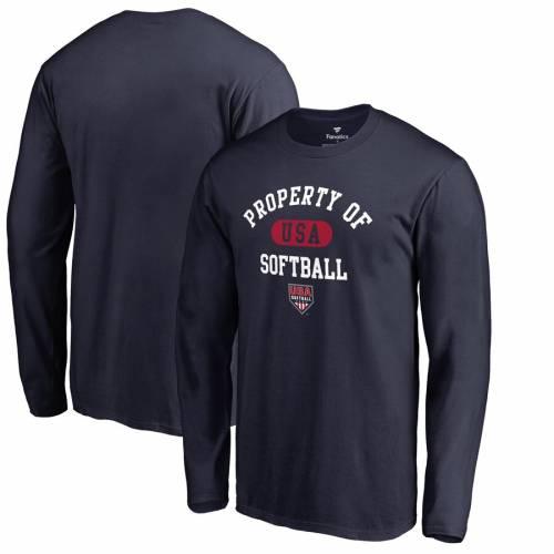 FANATICS BRANDED スリーブ Tシャツ 紺 ネイビー メンズファッション トップス カットソー メンズ 【 Usa Softball Property Of Long Sleeve T-shirt - Navy 】 Navy