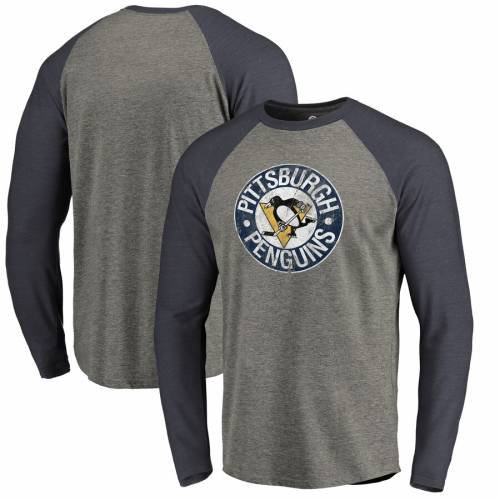 FANATICS BRANDED ピッツバーグ ビンテージ ヴィンテージ ロゴ スリーブ ラグラン Tシャツ メンズファッション トップス カットソー メンズ 【 Pittsburgh Penguins Big And Tall Throwback Vintage Logo Tri-bl