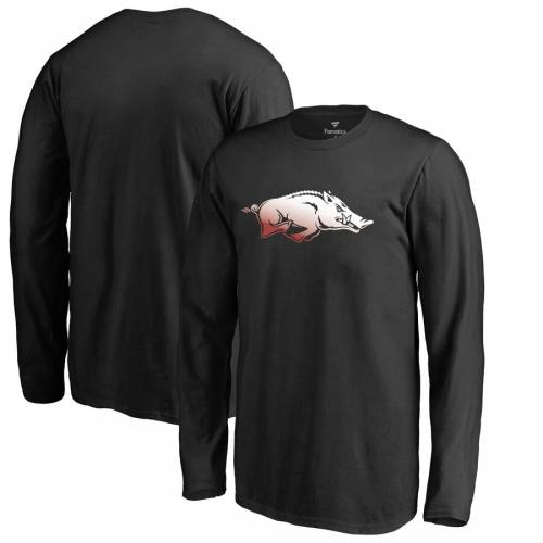 FANATICS BRANDED 子供用 ロゴ スリーブ Tシャツ 黒 ブラック キッズ ベビー マタニティ トップス ジュニア 【 Arkansas Razorbacks Youth Gradient Logo Long Sleeve T-shirt - Black 】 Black