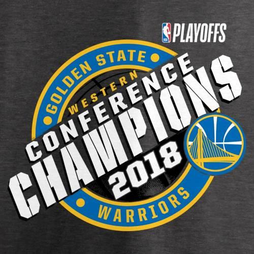 FANATICS BRANDED スケートボード ウォリアーズ Tシャツ ヘザー チャコール メンズファッション トップス カットソー メンズ 【 Golden State Warriors 2018 Western Conference Champions Keyhole Slogan T-shirt - H