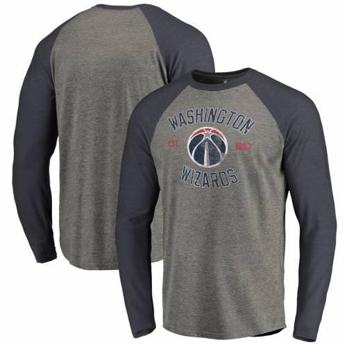 FANATICS BRANDED ワシントン ウィザーズ スリーブ ラグラン Tシャツ 灰色 グレー グレイ メンズファッション トップス カットソー メンズ 【 Washington Wizards Heritage Big And Tall Long Sleeve Tri-blend R