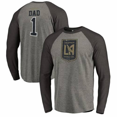 FANATICS BRANDED ラグラン Tシャツ 灰色 グレー グレイ メンズファッション トップス カットソー メンズ 【 Lafc Greatest Dad Raglan T-shirt - Heathered Gray 】 Heathered Gray