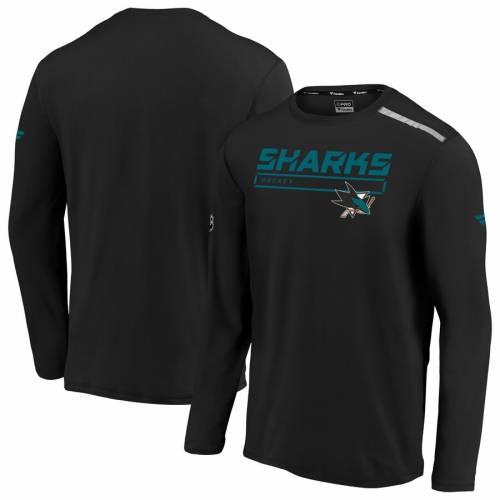 FANATICS BRANDED オーセンティック プロ スリーブ Tシャツ 黒 ブラック メンズファッション トップス カットソー メンズ 【 San Jose Sharks Authentic Pro Clutch Long Sleeve T-shirt - Black 】 Black