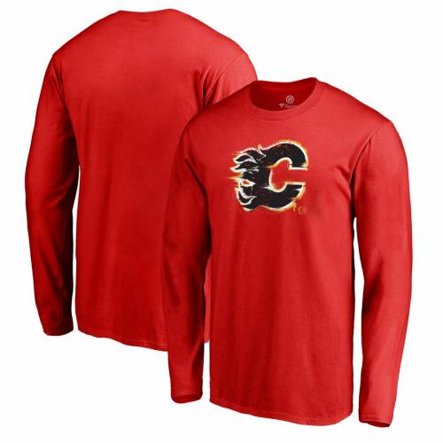FANATICS BRANDED ロゴ スリーブ Tシャツ 赤 レッド メンズファッション トップス カットソー メンズ 【 Calgary Flames Splatter Logo Big And Tall Long Sleeve T-shirt - Red 】 Red