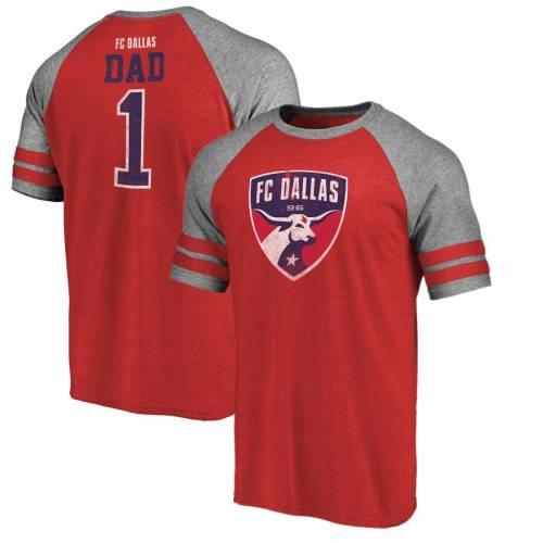 FANATICS BRANDED ダラス ストライプ ラグラン Tシャツ 赤 レッド メンズファッション トップス カットソー メンズ 【 Fc Dallas Greatest Dad Two Stripe Raglan T-shirt - Red 】 Red