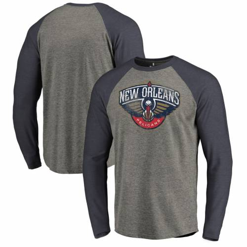 FANATICS BRANDED ロゴ ラグラン スリーブ Tシャツ メンズファッション トップス カットソー メンズ 【 New Orleans Pelicans Distressed Logo Tri-blend Raglan Big And Tall Long Sleeve T-shirt - Ash/navy 】 Ash/navy