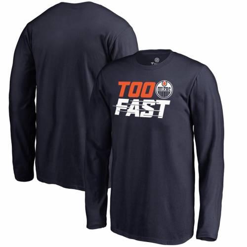 FANATICS BRANDED 子供用 ファスト スリーブ Tシャツ 紺 ネイビー キッズ ベビー マタニティ トップス ジュニア 【 Edmonton Oilers Youth Too Fast Long Sleeve T-shirt - Navy 】 Navy