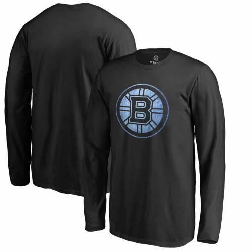 FANATICS BRANDED ボストン 子供用 スリーブ Tシャツ 黒 ブラック キッズ ベビー マタニティ トップス ジュニア 【 Boston Bruins Youth Pond Hockey Long Sleeve T-shirt - Black 】 Black