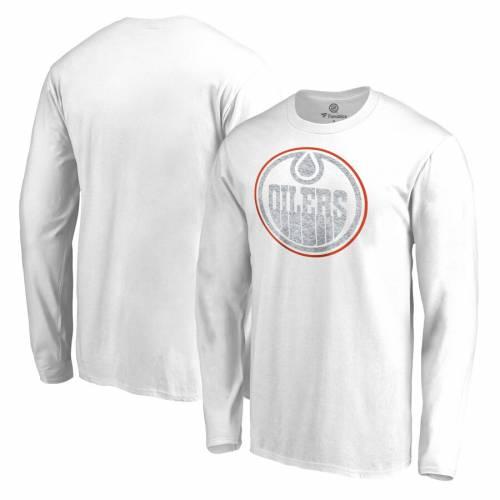 FANATICS BRANDED 白 ホワイト スリーブ Tシャツ メンズファッション トップス カットソー メンズ 【 Edmonton Oilers White Out Long Sleeve T-shirt - White 】 White