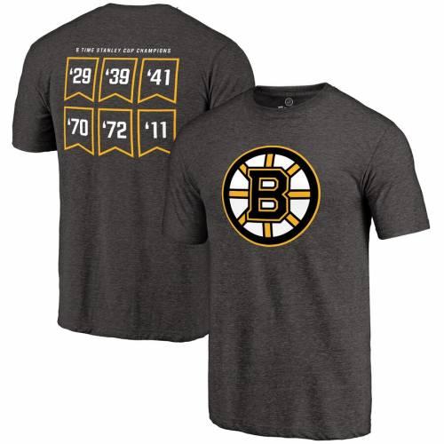 FANATICS BRANDED ボストン Tシャツ 黒 ブラック メンズファッション トップス カットソー メンズ 【 Boston Bruins Raise The Banner Tri-blend T-shirt - Heathered Black 】 Heathered Black