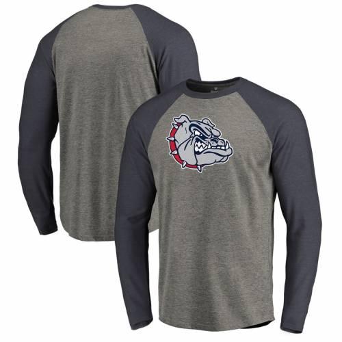 FANATICS BRANDED ゴンザガ ロゴ スリーブ ラグラン Tシャツ 灰色 グレー グレイ メンズファッション トップス カットソー メンズ 【 Gonzaga Bulldogs Primary Logo Long Sleeve Tri-blend Big And Tall Raglan T-sh