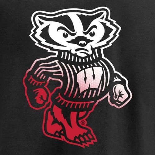 FANATICS BRANDED ウィスコンシン 子供用 ロゴ Tシャツ 黒 ブラック キッズ ベビー マタニティ トップス ジュニア 【 Wisconsin Badgers Youth Gradient Logo T-shirt - Black 】 Black