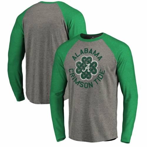 FANATICS BRANDED アラバマ ラグラン スリーブ Tシャツ 緑 グリーン St. メンズファッション トップス カットソー メンズ 【 Alabama Crimson Tide St. Patricks Day Luck Tradition Raglan Tri-blend Long Sleeve T-shirt