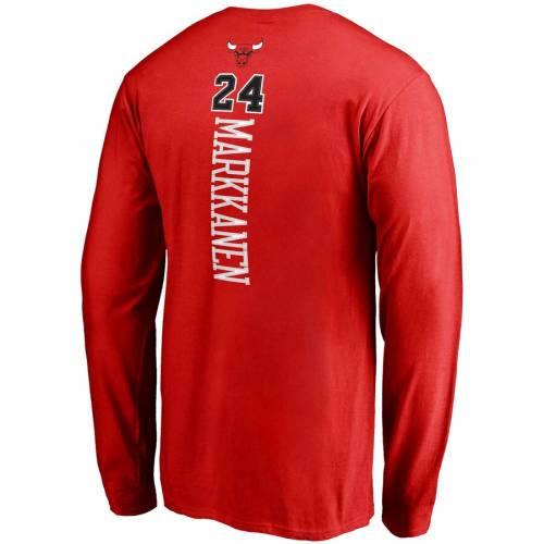 スポーツブランド カジュアル ファッション トップス 長袖 ファナティクス 直営店 シカゴ ブルズ スリーブ Tシャツ 流行 赤 レッド MARKKANEN BRANDED NUMBER LAURI BACKER NAME RED SLEEVE FANATICS TSHIRT メンズ