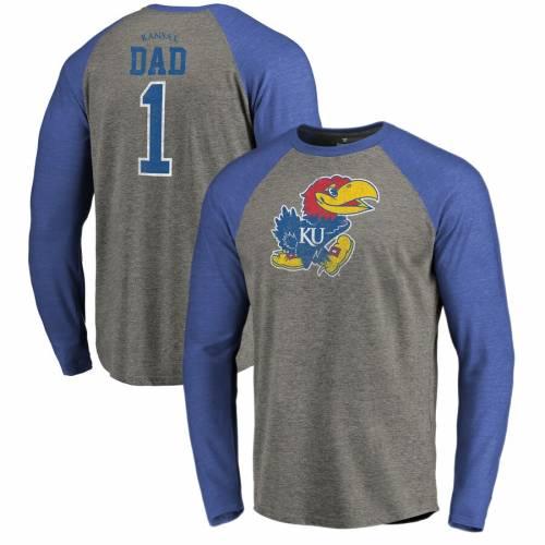 FANATICS BRANDED カンザス スリーブ ラグラン Tシャツ 灰色 グレー グレイ メンズファッション トップス カットソー メンズ 【 Kansas Jayhawks Greatest Dad Big And Tall Long Sleeve Tri-blend Raglan T-shirt - He
